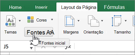 Fontes de tema na guia layout
