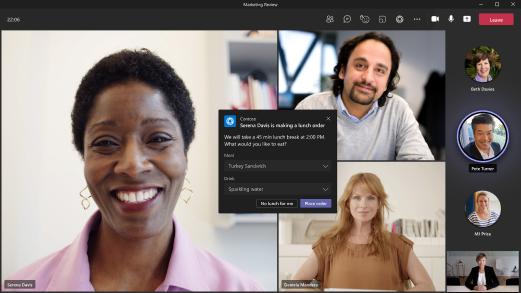 Imagem mostrando um exemplo de um aplicativo em uma Teams reunião.