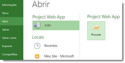 Botão Procurar para abrir um arquivo do Project Web App