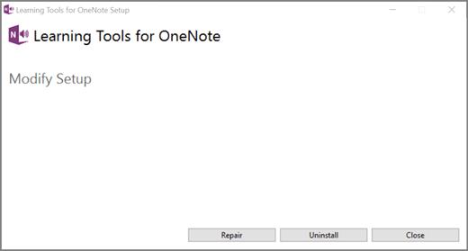 Selecione reparar em ferramentas de aprendizagem para OneNote.