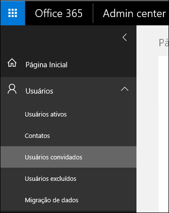 Expanda a seção Usuários, no painel de navegação, para gerenciar os Usuários convidados