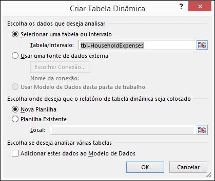 Diálogo Criar Tabela Dinâmica do Excel