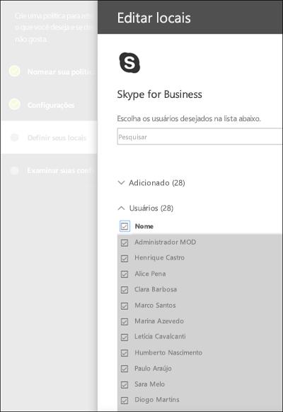 Página para escolher usuários do Skype