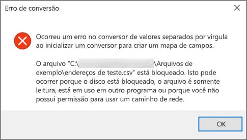 Esta é a mensagem de erro que você obterá se o seu arquivo .csv tiver dados formatados incorretamente.