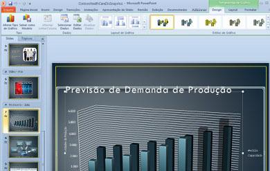 A guia Ferramentas de Gráfico aparece ao clicar em um gráfico.