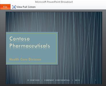 exibição de uma transmissão de apresentação de slides