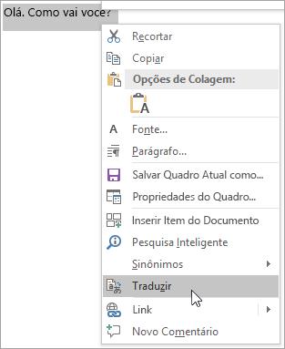 Mostrando o menu de atalho para traduzir