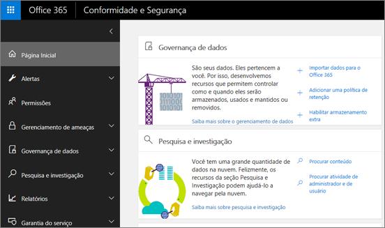 Home page do Centro de Conformidade e Segurança do Office 365