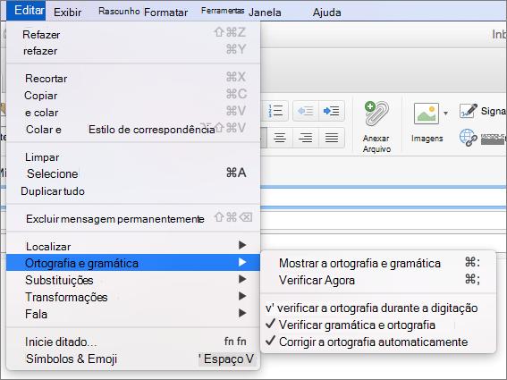 Opções no menu Editar > menu de ortografia e gramática