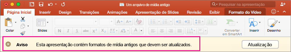 Antigo formato de mídia do PowerPoint 2016 para Mac