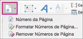 Na guia Inserir, selecione o Número de Página
