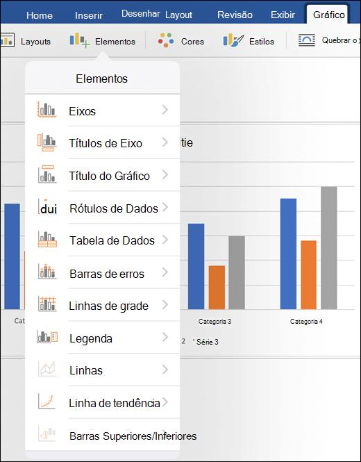 Clique em elementos na guia gráfico da faixa de opções para personalizar elementos do gráfico em seu documento