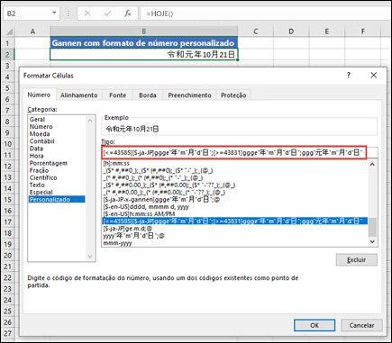 Aplicar o formato Gannen com um número personalizado em Ctrl+1 > guia Número > Número personalizado.