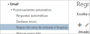 Uma captura de tela da Caixa de entrada e limpar regras no menu Opções