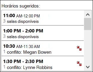 Use o seletor de horários sugeridos para ver quando os participantes estão disponíveis.