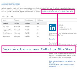 Localizar mais aplicativos na Office Store