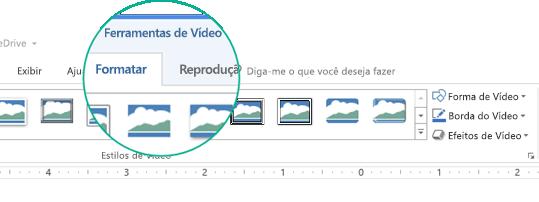 """Quando um vídeo é selecionado em um slide, a seção """"Ferramentas de Vídeo"""" é exibida na faixa de opções da barra de ferramentas apresentando duas guias: Formatar e Reprodução."""