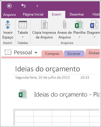 Captura de tela de uma nova planilha no OneNote 2016.