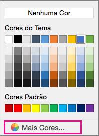 Opções de cor de sombreamento com Mais Cor em destaque.