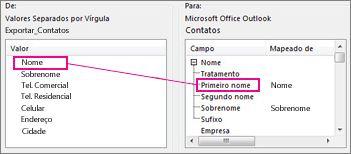 Mapeando uma coluna do Excel para um campo de contatos do Outlook