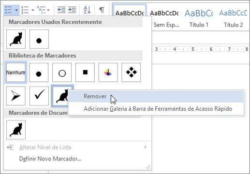 Remover um estilo de marcador de biblioteca de marcadores