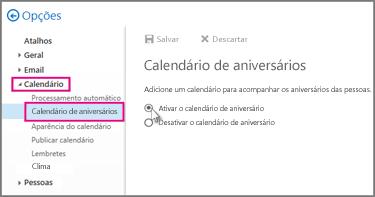 Ativar o calendário de aniversário