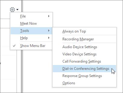 Ferramentas > configurações de conferência discada