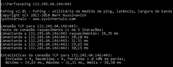 PSPing para o endereço IP retornado pelo ping a outlook.office365.com mostrando uma média de 28 milissegundos de latência.