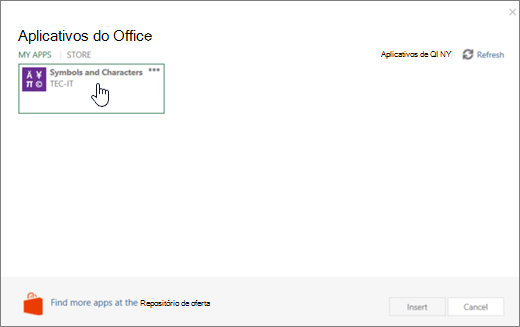 Captura de tela mostra a guia Meus aplicativos nas página aplicativos do Office.