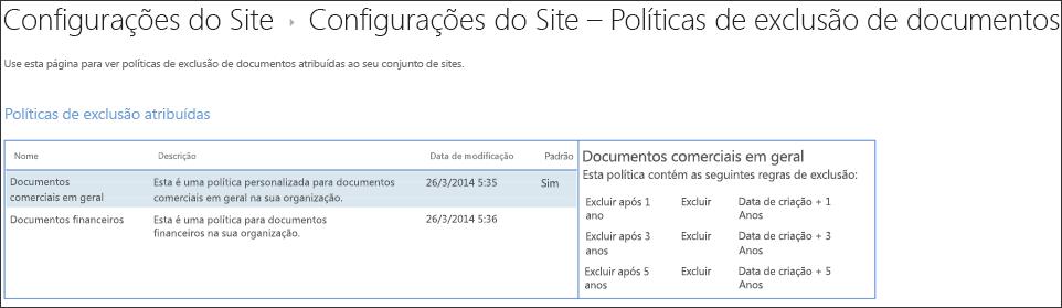 Modo de exibição de políticas de exclusão de documento atribuído a um conjunto de sites