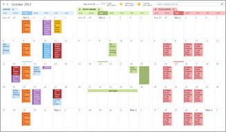 Exemplo de três calendários lado a lado