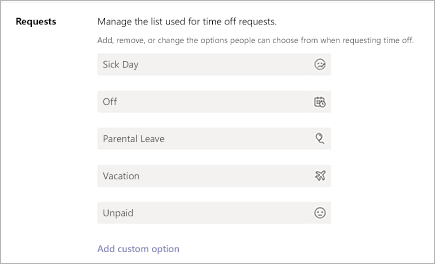 Adicionar ou editar solicitações de folga em Microsoft Teams Turnos