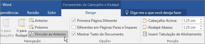 A opção Vincular ao Anterior está realçada nas Ferramentas de Cabeçalho e Rodapé.