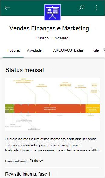 Captura de tela da guia notícias em um Site de equipe