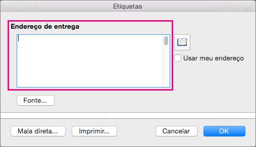 Ao imprimir etiquetas, as informações de Endereço de Entrega são colocadas em cada etiqueta.