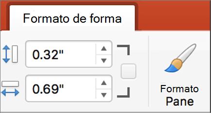 Caixas Altura da forma e largura de forma na faixa de opções