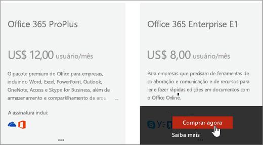Link comprar agora na página de serviços de compra do Centro de administração do Office 365.