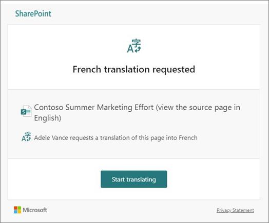 Email de solicitação de tradução