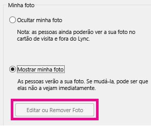 Captura de tela da seção superior Definir Minhas Opções de Imagem com o botão Editar ou Remover Imagem esmaecido