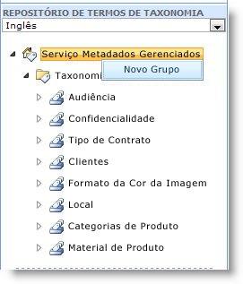 você pode usar o menu para criar novos grupos.