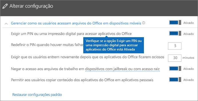 Verifique se a opção Exigir um PIN ou impressão digital para acessar os aplicativos do Office está definida como Ativado.