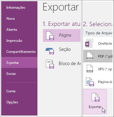 Captura de tela de como exportar uma página de anotações no OneNote 2016.