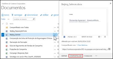 Começar a compartilhar um documento em uma biblioteca do SharePoint