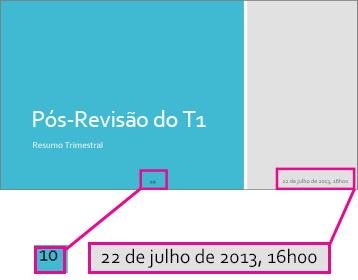 Adicionar data, hora e números de slide