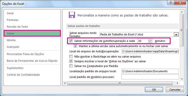 Opção Salvar em Opções do Excel