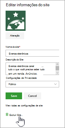 Site de equipe do SharePoint excluir local do site