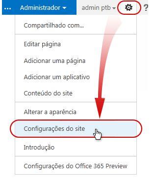 Comando de configurações do site no menu Ações do Site