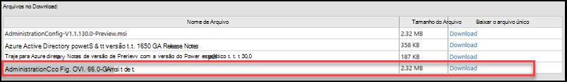 Captura de tela mostrando o nome do arquivo para baixar o Azure Active Directory módulo para Windows PowerShell