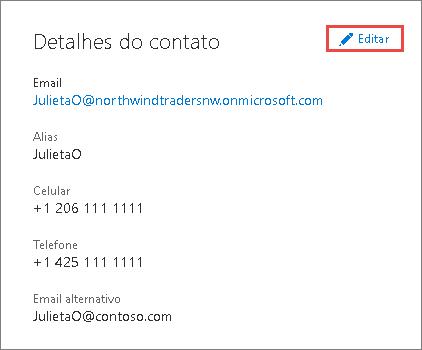 Use os detalhes do contato para atualizar informações do administrador