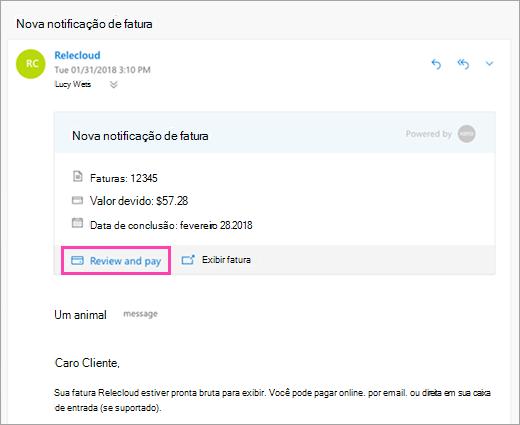 Uma captura de tela da revisão e o botão de pagamento
